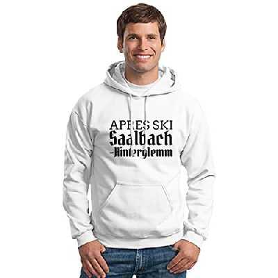 Apres Ski : Saalbach-Hinterklemm Sweat à capuche unisexe pour ski/skateboard, Noir , XXX-Large
