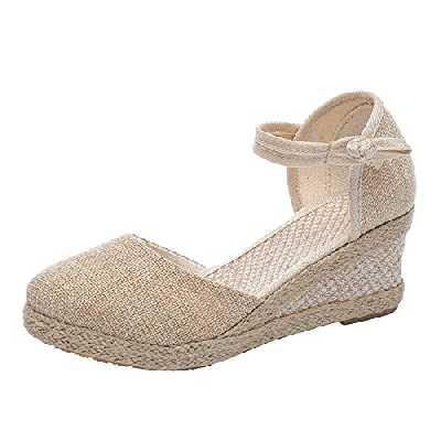 Chaussures CompenséEs FerméEs Femme Espadrille Femmes Compensees Sandales Confort Été Rétro Décontractée