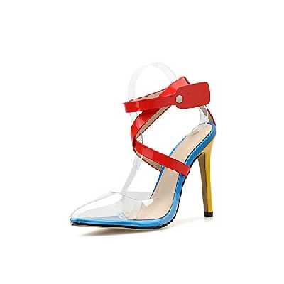 WLQWER Sandales à Talons Hauts pour Femmes en plexiglas pour Dames à Bout Pointu, Escarpins clairs, Bride à la Cheville, à Bretelles, Chaussures de mariée de Bal,Rouge,35