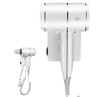 QL Sèche-cheveux Mural avec Ions et Protection Thermique 2000W - Sèche-cheveux avec Support et Port USB - Pour Maison, Hôtel - Blanc