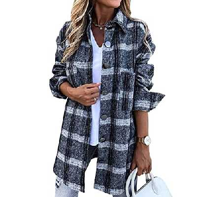 Heflashor Veste à Carreaux Femmes Chemise Bûcheron à Manches Longues Manteau Tunique Décontracté Surchemise Blouse Chaud Chic Cardigan Casual Gilet Vintage Outwear Automne Hiver