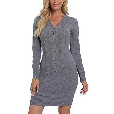 Vthereal Robe en tricot stretch pour femme - Robe en tricot - Robe sexy - Avec fermeture éclair - Pour l'hiver, gris, M