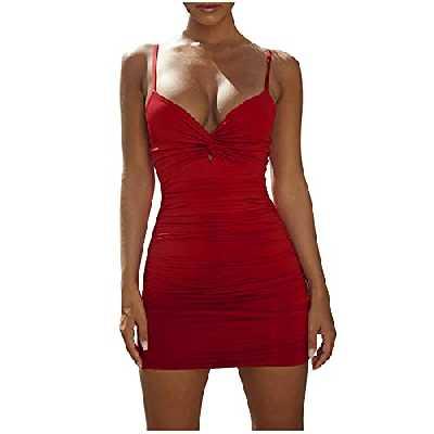 Robe moulante sexy pour femme - Robe d'été décontractée - Taille haute - Mini robe de cocktail - Robe fourreau fine - Pour femme, a-lie-de-vin, XXL