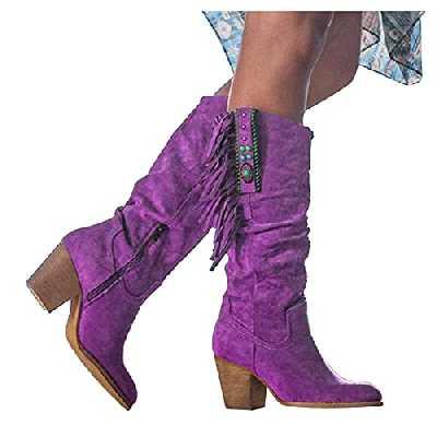 Dasongff Bottes Haute à Talons Chunky Cuissarde à Gland Vintage Élégant Bottes Longues Chaussures Talon Femme Sexy Boots Le Genou Bottes de Neige Classiques Automne Hiver