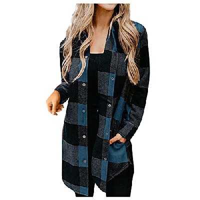 Manteau Femme à Carreaux à Manches Longues Veste Surchemise Chemise Décontracté Grande Chemise Blouse Style Urbain avec Boutons pour l'automne et l'hiver