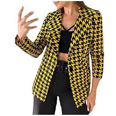 Dasongff Blazer Femme à Pied-de-Poule Revers Veste de Costume à Carreaux Costume de Bureau Revers Slim Fit Automne Hiver Cardigan Manteau Long Femme Trench Bureau Affaires Outwear Outerwear