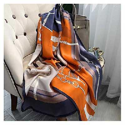 JICJANFENG Foulard Femmes 100% Silk Foulard Femmes De Luxe Marque Mode Scarfe Real Silk Foulard Mesdames Foulard de Soie Longue en Satin français Haut de Gamme (Color : Color 1, Size : 170 53 cm)