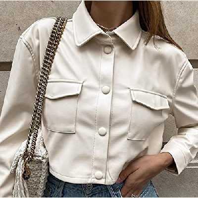 Mode Faux Cuir Crocped Jacket Femmes Automne Vintage Manteaux élégants Mesdames PU Harajuku Punk Style Punk Opond Hiver