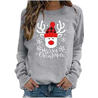 properLI Sweat-Shirt Femme Hiver Nouveau NoëL Sweat Femme Automne Hiver Christmas Lettre Imprimée Sweat-Shirt sans Capuche à Manches Longues T-Shirt Chaud Chic Ample Pull Col Rond Femme