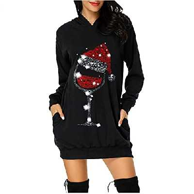 KUKICAT Femme Robe Sweat à Capuche Noël Hiver Hoodie Longue Imprimé Wapiti Loose Pull Dress Casual Grande Taille Pas Cher