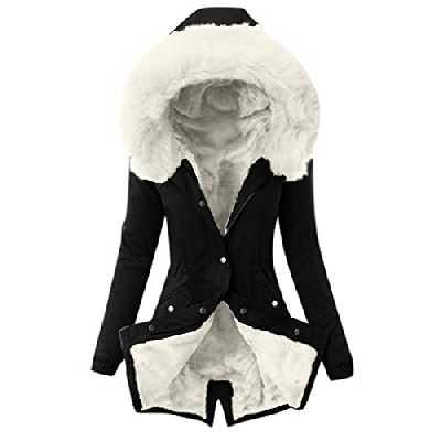 CCOOfhhc Veste d'hiver chaude pour femme - Parka de mi-saison avec capuche - Imperméable et respirante - Longue veste fonctionnelle pour l'hiver - Fourrure chaude - Grandes tailles, Blanc., XL