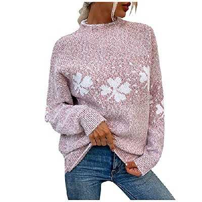 Pull Femme Col Rond Hiver Chaud Laine Jacquard Tricot Pas Cher A La Mode Pullover À Manche Longue Chic Et Elegant Imprimé Flocon De Neige De NoëL