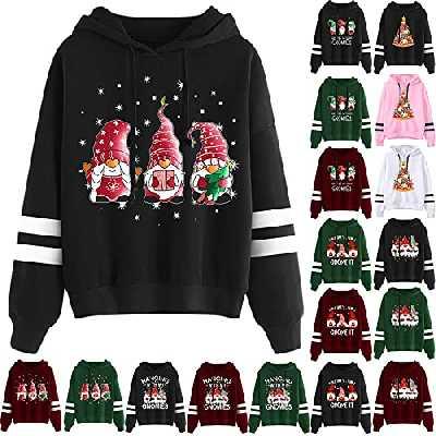 YINROM Sweat à Capuche Femmes Noël Top Automne Hiver Impression de Gnomes Pulls Casual Imprimé Hoodie Col Rond Manches Longues Sweatshirt Blouse De Sport Noël (1#Black, L)