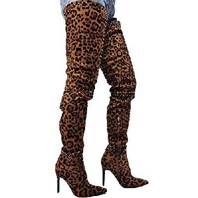 ZHENGRUI Cuissardes Femmes,Bottes Longues Imprimé Léopard Sexy Mode Talon Stiletto Bout Pointu Daim Rivet Unique Bar Fête Automne Hiver,Leopardprint-45