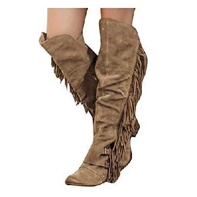 Dasongff Bottes de cowboy pour femme à franges - Bottes hautes pour femme - Bottes tactiques imperméables décontractées - Bottes de motard respirantes - Bottes d'hiver
