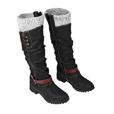 Dasongff Bottes hautes pour femme à talons longs - Bottes d'hiver sexy plates - Décontractées - Cowboy - Antidérapantes - Classiques - Pour l'hiver