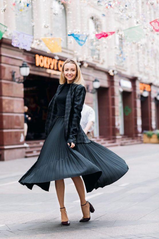 jupe plisée look